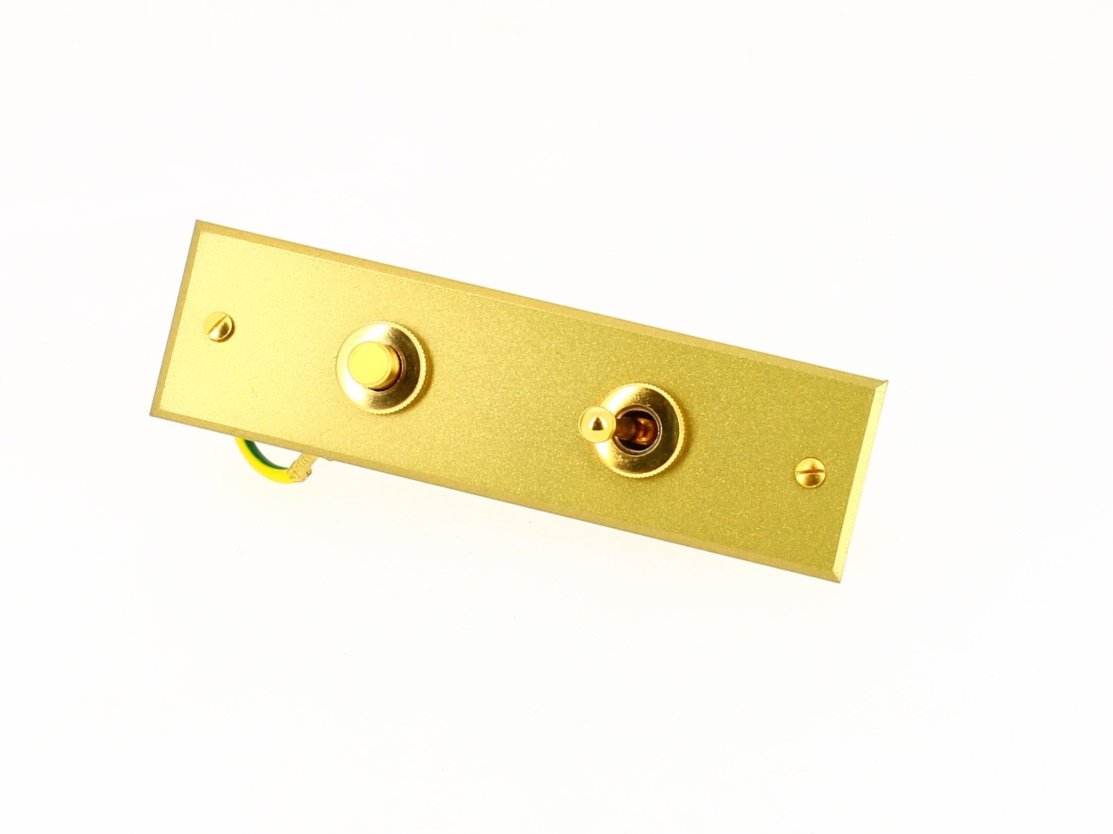 Interrupteur 1 bouton poussoir + 1 bouton levier / va-et-vient - Or Jaspe - Arnould Europa 35