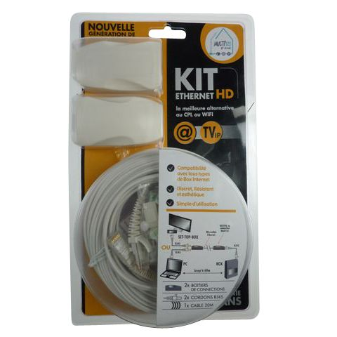 Kit Ethernet HD 100mb cable ultrafin ACOHOME pour Box PC TV