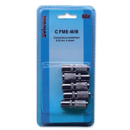 Blister de 5 connecteurs métalliques femelles 9.52mm à visser pour cable 17VATC