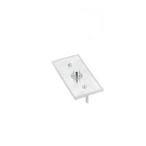Interrupteur 1 bouton poussoir argent+plexiglass Europa