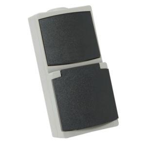 Prise de courant 2p+t Perle Debflex 10/16a + interrupteur gris s/film ip65