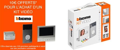 10€ offerts pour l'achat d'un kit vidéo Bticino